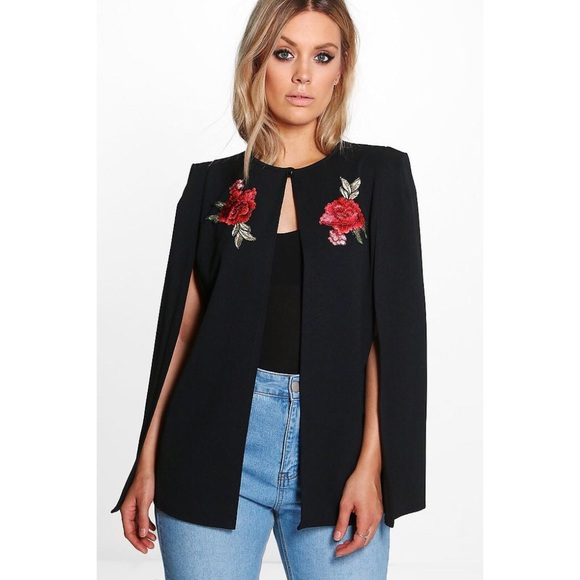 d127d559c NWT Boohoo Plus Embroidered Cape Jacket NWT